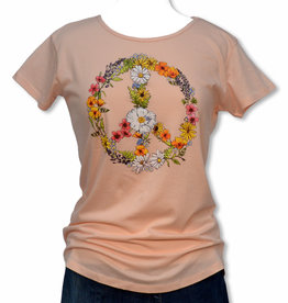 CA Floral Peace Sign Women's Tee, Pink