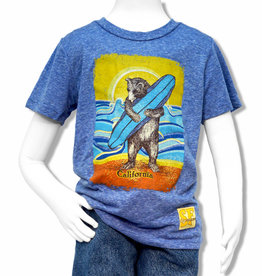 Tri-blend Blue Surf Bear Kids Tee