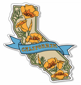 CA State  w/Poppies  Vinyl Sticker