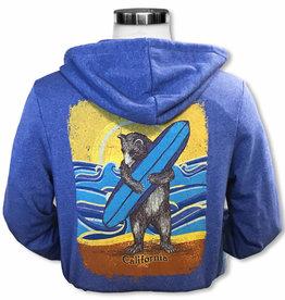 SF Mercantile CA Surf Bear Blue Adult Zip Hoodie