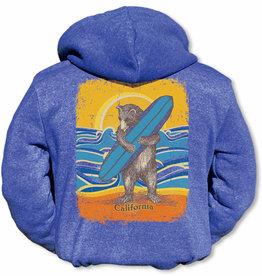 Kids Retro Surf Bear Zip Hoodie