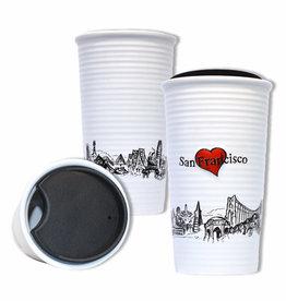Heart in SF Double Wall Ceramic Travel Mug
