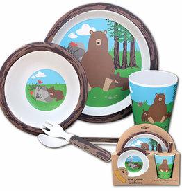 Bear Family Bamboo 5pc Kids Dinnerware Set