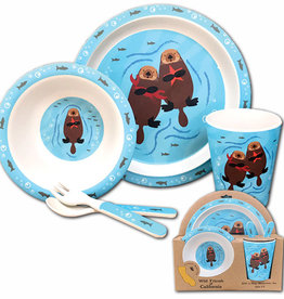 Sea Otter Family Bamboo 5pc Kids Dinnerware Set