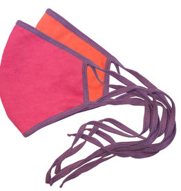 Reversible Face Mask, Hot Pink & Orange w/Lt. Purple Trim