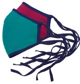 Reversible Face Mask, Magenta & Teal w/ Purple Trim