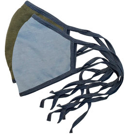 Reversible Face Mask, Lt. Blue & Olive w/Denim Blue Trim