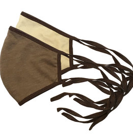 Reversible Face Mask, Lt. Brown & Cream w Dk. Brown Trim