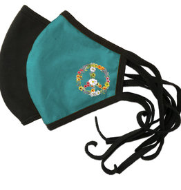 Reversible Mask, Floral Peace Sign Printed on Teal Side,