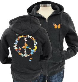 SF Mercantile Butterfly Peace Zip Unisex (men's) Hoodie