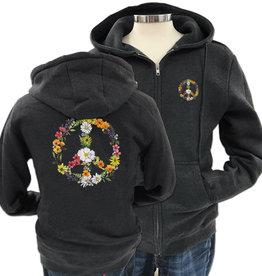 SF Mercantile Floral Peace Sign Zip Unisex (Men's) Hoodie