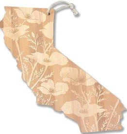 CA Poppy Etched Cutting Board