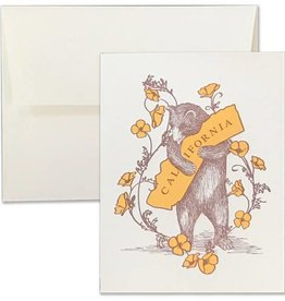 Poppy and CA Bear Hug Letterpress Card