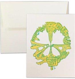SF Peace Letterpress Card, Yellow