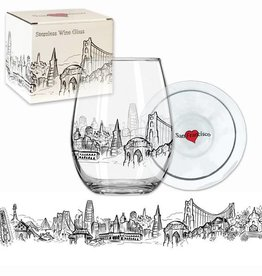 Heart in SF Stemless Wine Glass