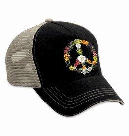 Floral Peace Sign Black Trucker Hat