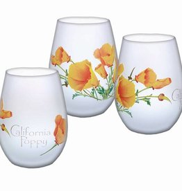 California Poppy Stemless Wine Glass, frosted