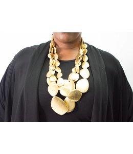 Monies Goldfoil Pebble Necklace