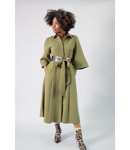 Gracia Belted Long Shirt Dress
