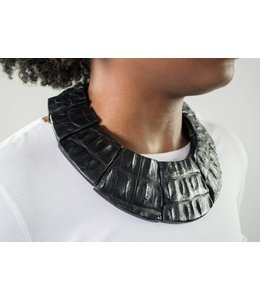 Monies Croc Leather & Ebony Choker