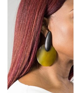 Monies Ebony & Green Horn Earring