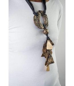Alisha D Antique Gold Handmade Paper Necklace