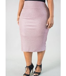 Pinky Rose Metallic Pencil Skirt