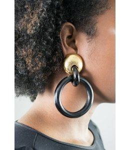 Monies Goldfoil/ Ebony Earring