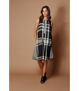 Alembika Plaid Linen Tank Dress