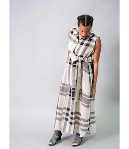 Alembika Plaid Linen Dress