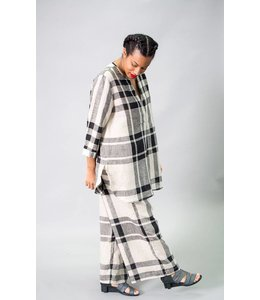 Alembika Plaid Linen Pant