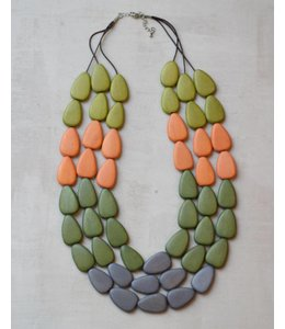 Sylca Designs Multi Colored Layered Wood Necklace