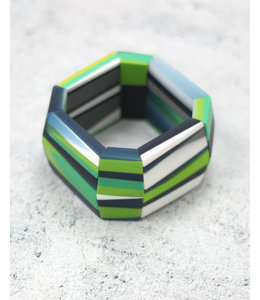 Navy and Green Chunky Resin Bracelet