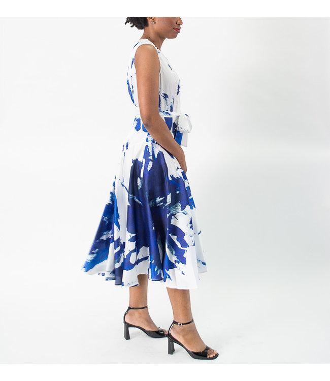 Samuel Dong Print Twill Dress