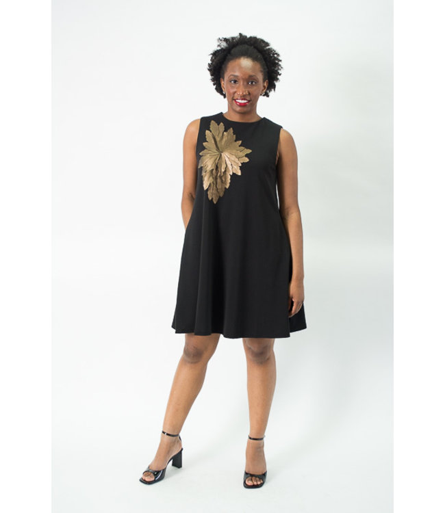 Gracia Bronze Flower Mini-Dress