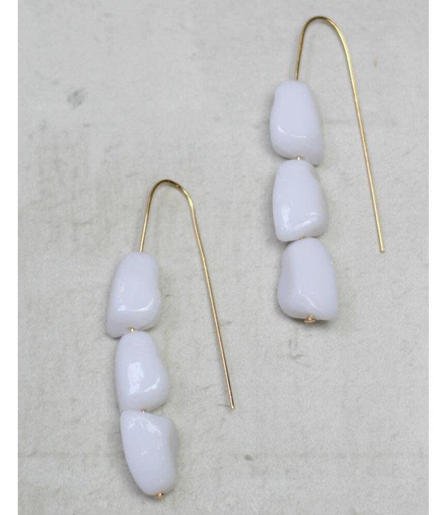 Sylca Designs White Bead Earring