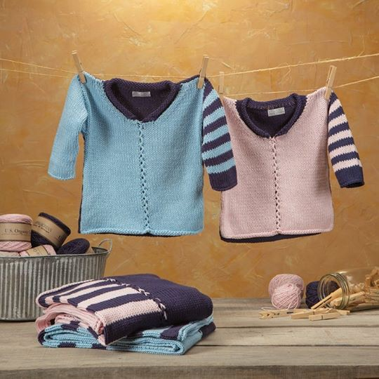 Yarn TALLY HO BABY PULLOVER KIT<br /> INDIGO/BABY BLUE