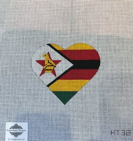 Canvas ZIMBABWE FLAG HEART  HT32