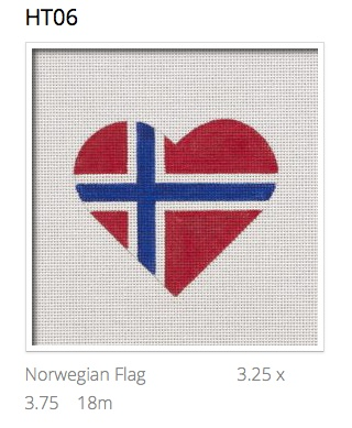 Canvas NOWEGIAN FLAG HEART  HT06
