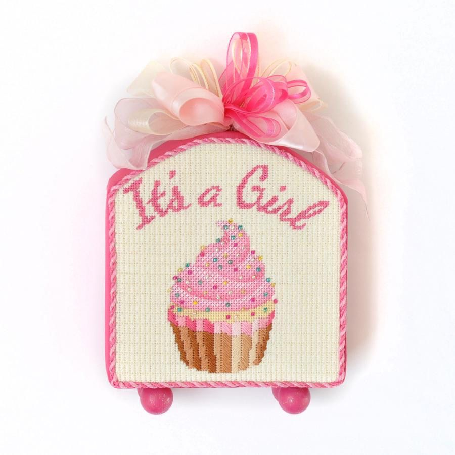 Canvas IT'S A  GIRL CUPCAKE STAND-UP  KB1199