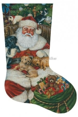 Canvas SLEEPING SANTA WITH PUPPIES AND KITTENS  LGDAXS460