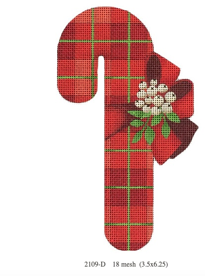 Canvas RED CHECKERED CANDY CANE  ORNAMENT2109D