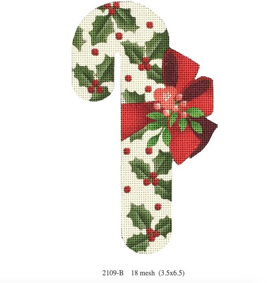 Canvas HOLLY CANDY CANE  ORNAMENT  2109D