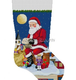 Canvas SANTA READING LIST ON CHIMNEY  0120