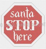 Canvas SANTA STOP HERE ORNAMENT SC09