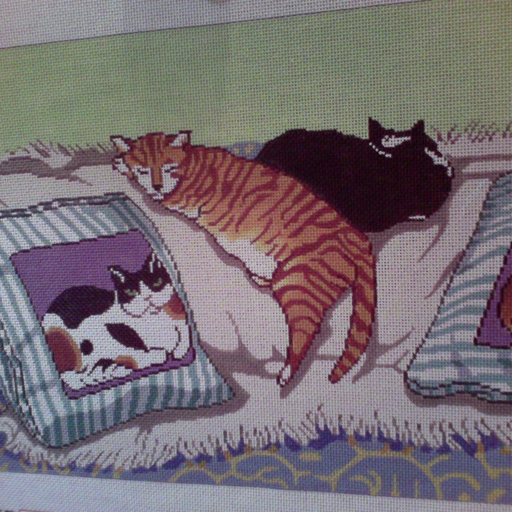 Canvas TWO SLEEPING CATS  WH1192