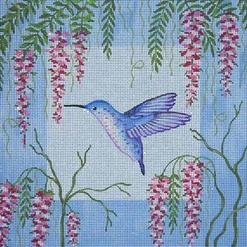 Canvas BLUE HUMMINGBIRD & WISTERIA B044