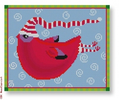 Canvas RED BIRD WITH SCARF MNPL 03