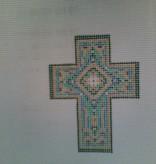 Canvas TEAL ENAMEL CROSS N1723