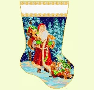 Canvas SANTA WITH TEDDY BEARS  4222